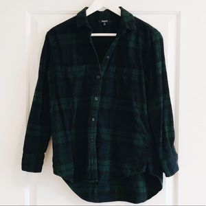 Tops - Madewell Green Plaid Flannel Button Down Top